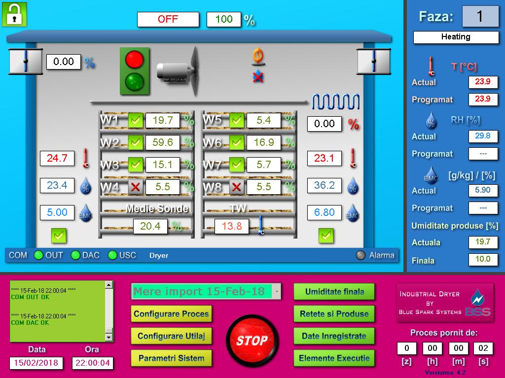 Software automatizare deshidrator